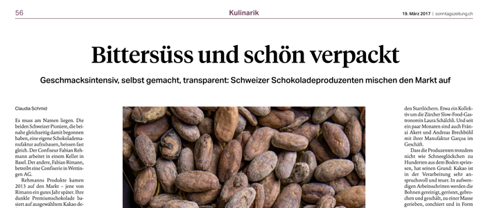 Further attention towards the Bean-to-Bar- trend - Report Sonntagszeitung - 19th march 2017