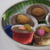 Praline-Cups aluminium, round + oval, coloured, assorted 50 pces.